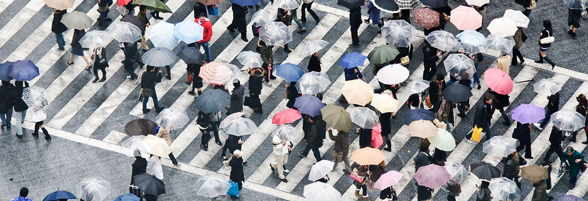 people holding umbrellas crossing road on rainy day