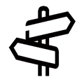 directional signage icon - black