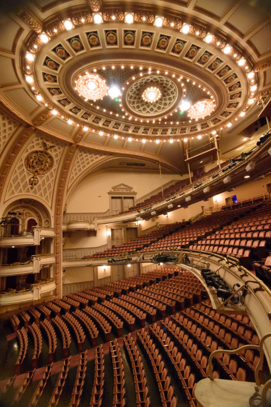 Interior picture of Brooklyn Academy of Music's Howard Gilman Opera House.  Light beams from the chandeliers.