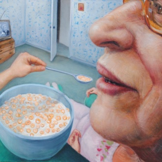 Modern painting of an elderly woman eating a bowl of cereal while watching television in a blue wallpapered living room.