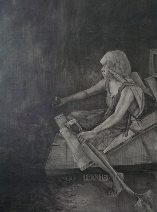 Black and white sketch of a woman sitting on a wood dolly on a stormy night.  She's holding a shovel and staring off into the distance.